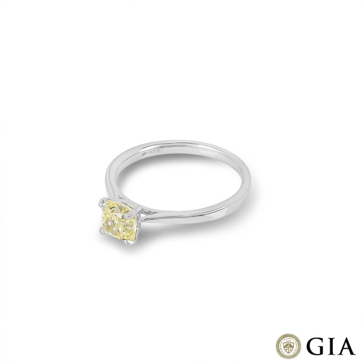 Cushion Cut Platinum Fancy Yellow Diamond Ring 1.03ct